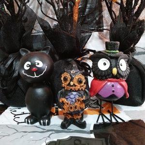 Halloween Black Cat & Owls Figurine Bundle